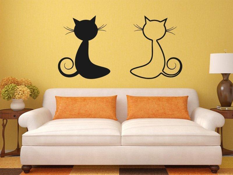 Samolepka na zeď Dvě kočky 0447