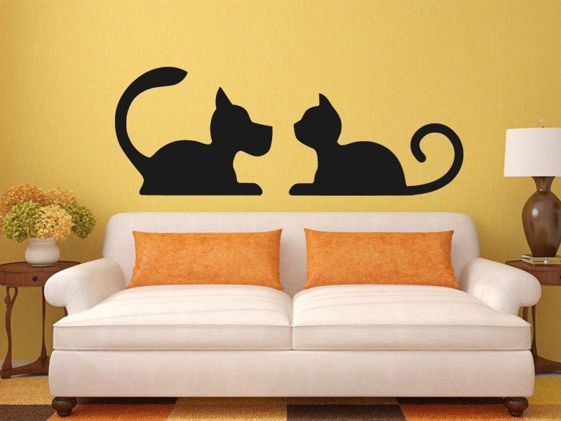 Samolepka na zeď Kočka a pes 0567