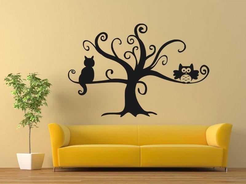 Samolepka na zeď Kočka na stromě 0442