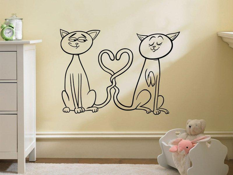 Samolepka na zeď Zamilované kočičky 0520
