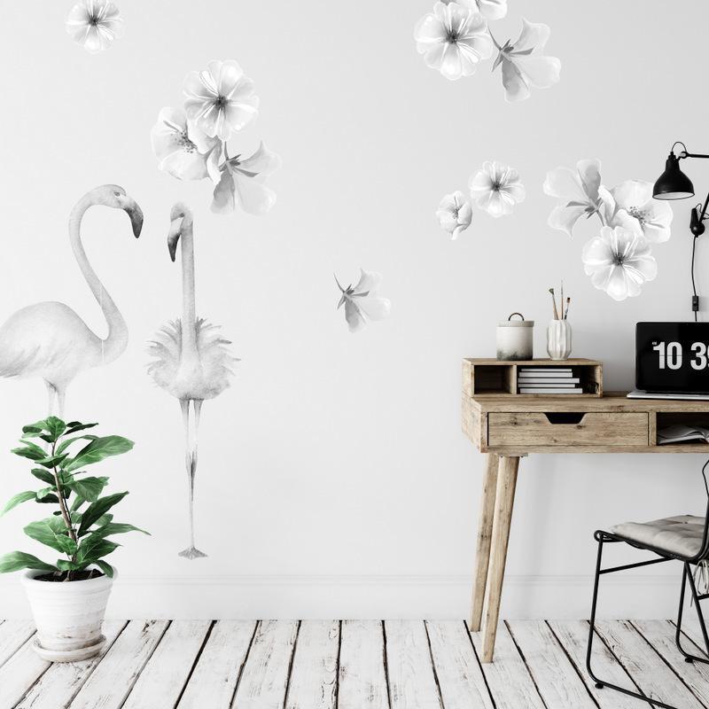Samolepky na stenu Sivé kvety