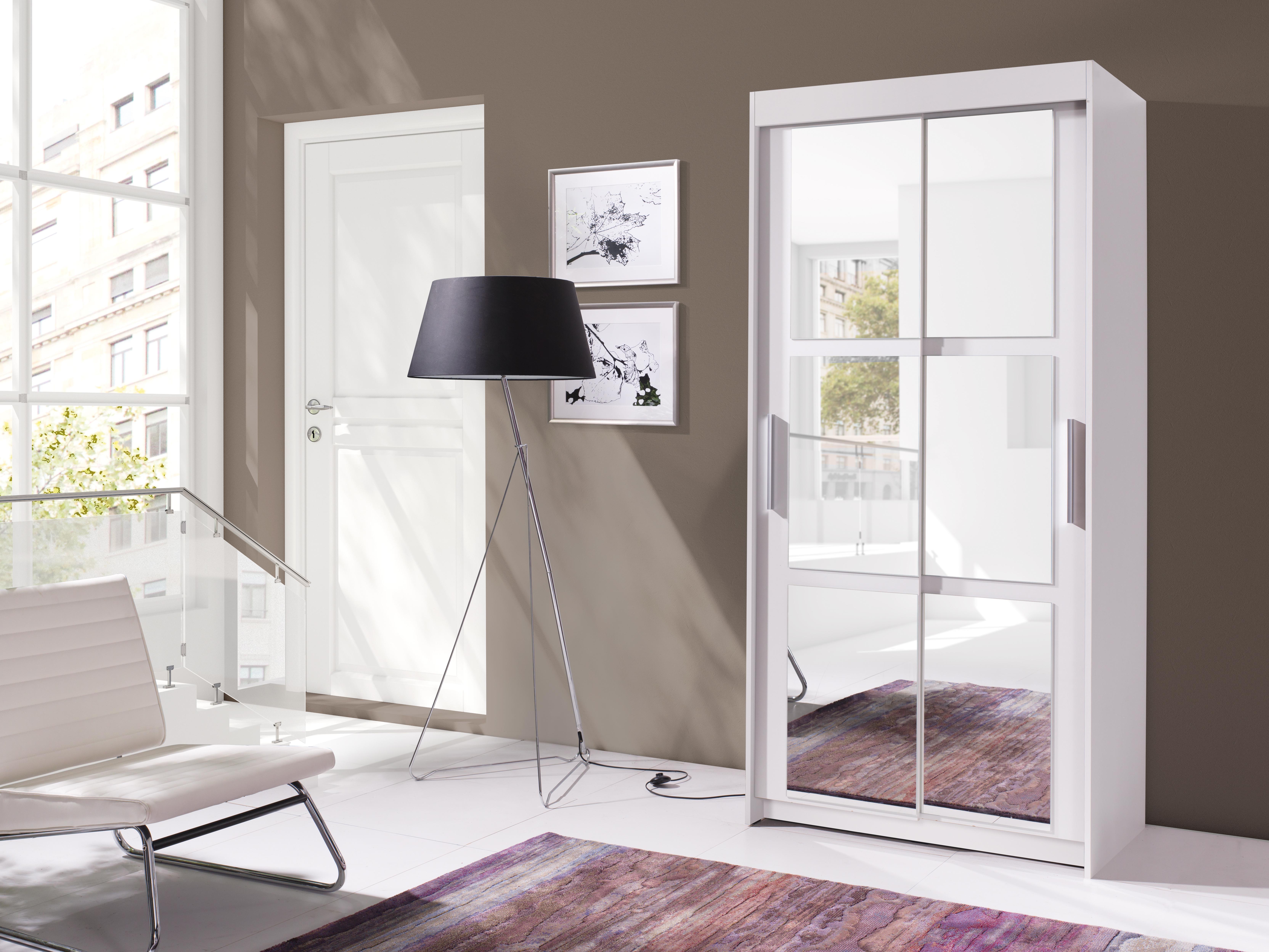 Šatníková skriňa - Kenton 100 (biela + zrkadlo). Akcia -30%.