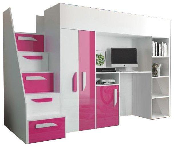 SB Multifunkčná poschodová posteľ Party 14 Farba: Ružová