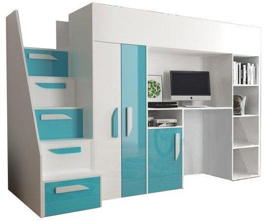 SB Multifunkčná poschodová posteľ Party 14 Farba: Tyrkysová