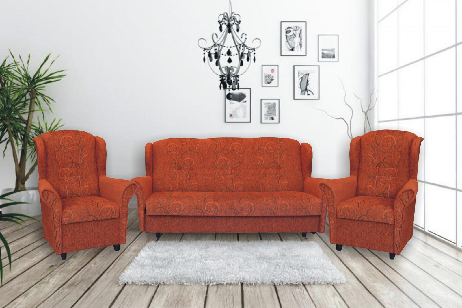 Sedacia súprava Agáta MAX 3F + 1 + 1 Farba: Oranžová