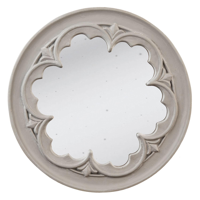Šedé vintage zrkadlo s ornamentom - Ø 50 * 4 cm