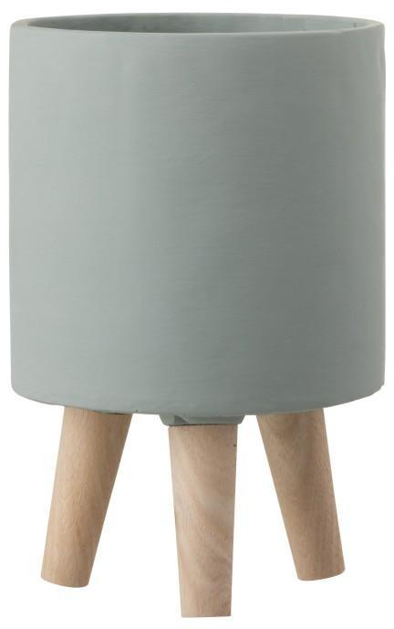 Šedý cementový kvetináč na drevených nôžkach - Ø16 * 24,5 cm
