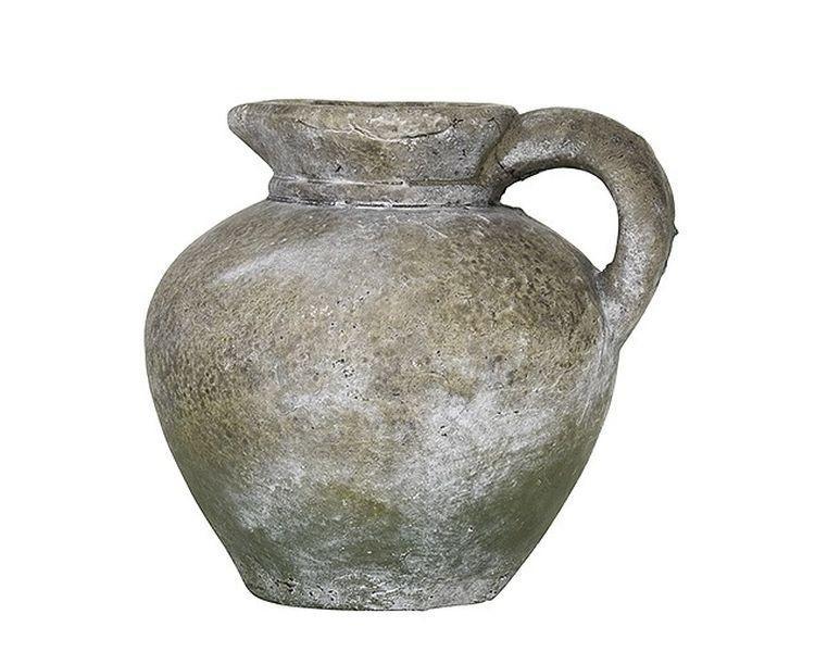 Šedý cementový retro džbánik so zelenou patinou - 16 * 14 * 15cm