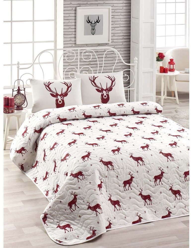 Set prešívaného plédu a 2 obliečok na vankúše s prímesou bavlny na dvojlôžko EnLora Home Geyik Claret Red, 240 × 220 cm