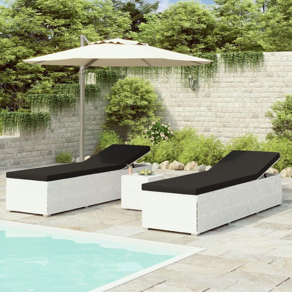 shumee 3-dielne záhradné lehátka s čajovým stolíkom biele polyratanové