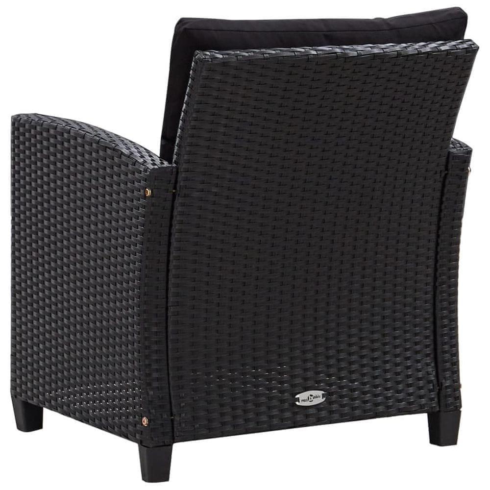 shumee 6-dielna záhradná sedacia súprava+podložky, polyratan, čierna
