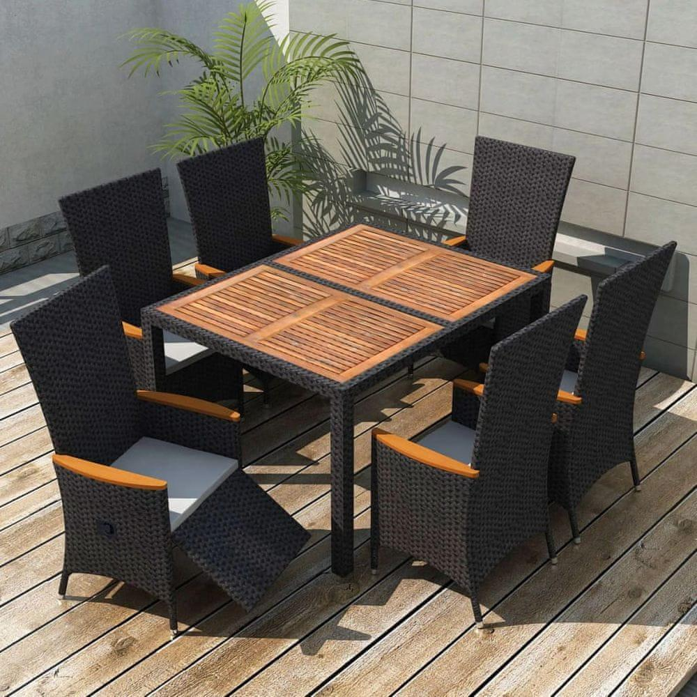shumee 7-dielna vonkajšia jedálenská súprava, polyratan+akáciové drevo