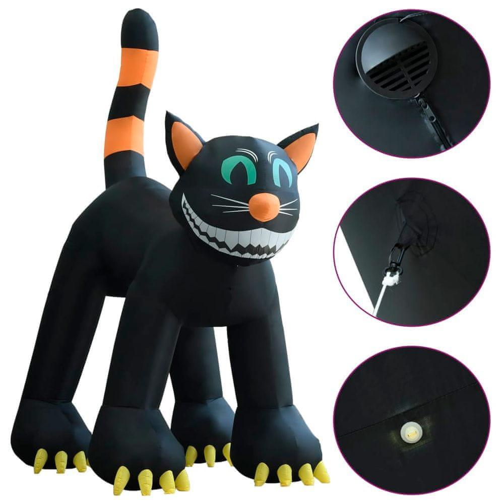 shumee Halloweenska nafukovacia čierna mačka s LED XXL 6 m