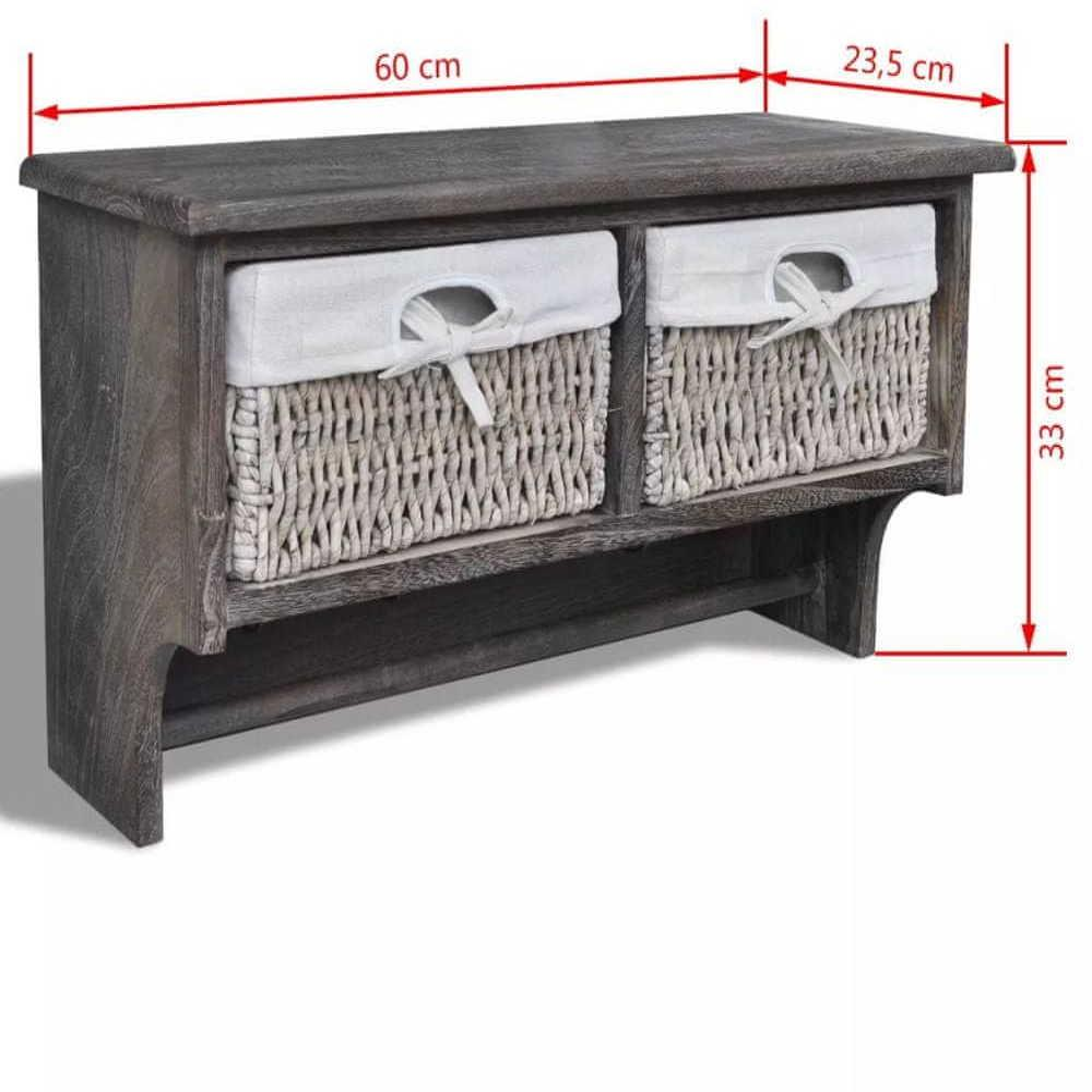 shumee Nástenná polica,hnedá 60x23,5x33 cm, drevo paulovnie