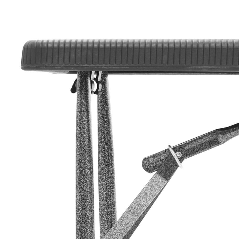 shumee Skladacie záhradné lavice 2 ks, 180 cm, HDPE, čierne