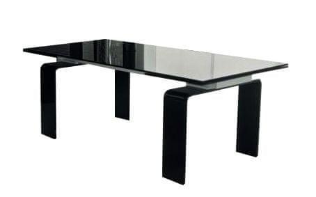 shumee Sklenený stôl ATLANTIS ČIERNY 200/300 - výsuvný, čierne sklo