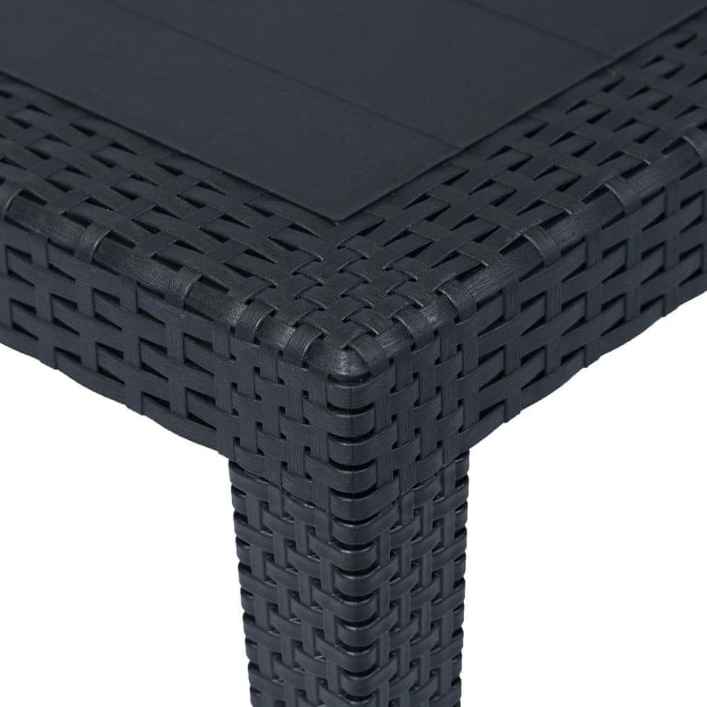 shumee Záhradný stôl plastový ratanový vzhľad 150x90x72 cm antracit