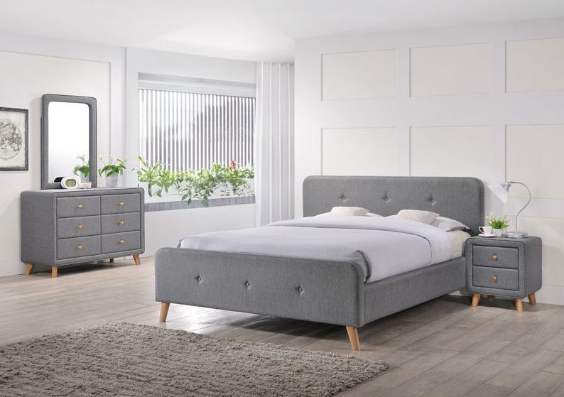 Signal Čalúnená manželská posteľ MALMO FARBA: Sivá / 180 x 200 cm