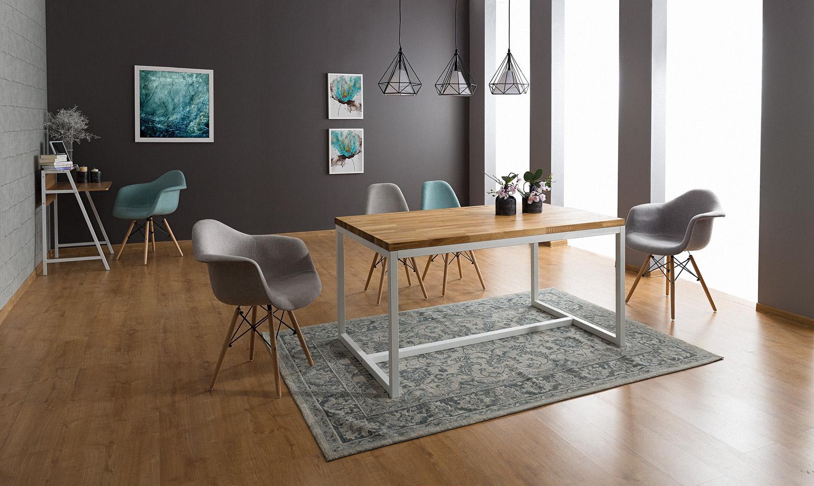 Signal Jedálenský stôl LORAS A   dubová dýha Prevedenie: Biela - 77 x 90 x 180 cm