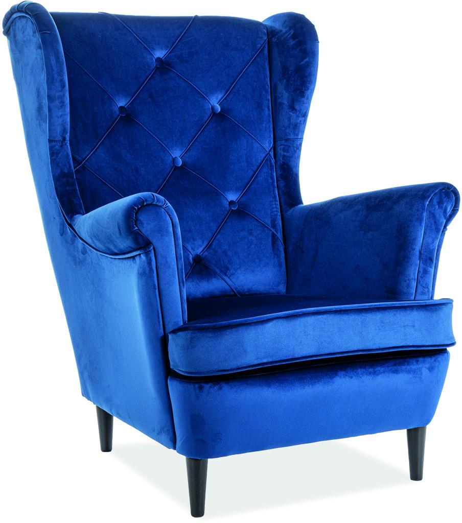 Signal Kreslo LADY velvet Farba: Modrá
