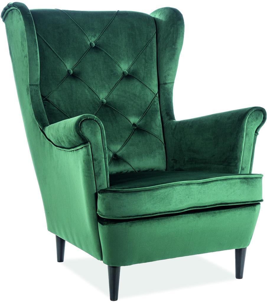 Signal Kreslo LADY velvet Farba: Zelená