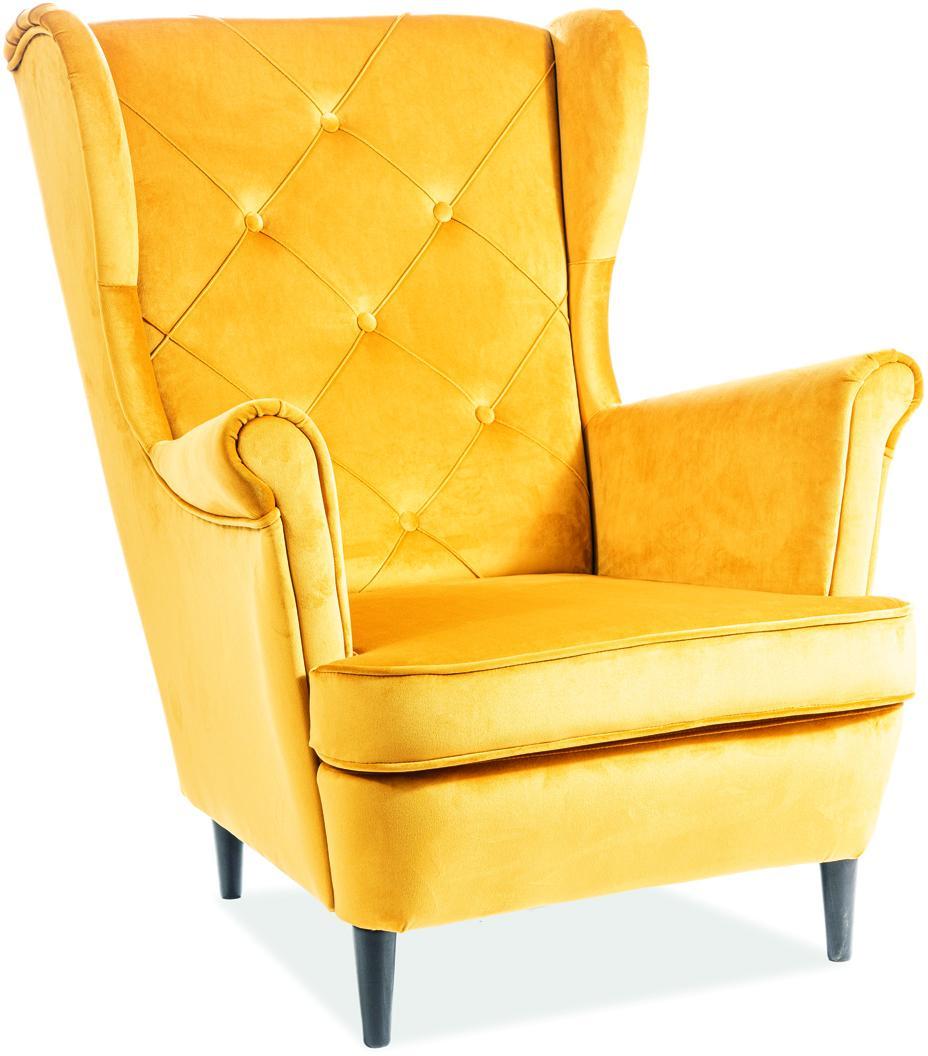 Signal Kreslo LADY velvet Farba: Žltá
