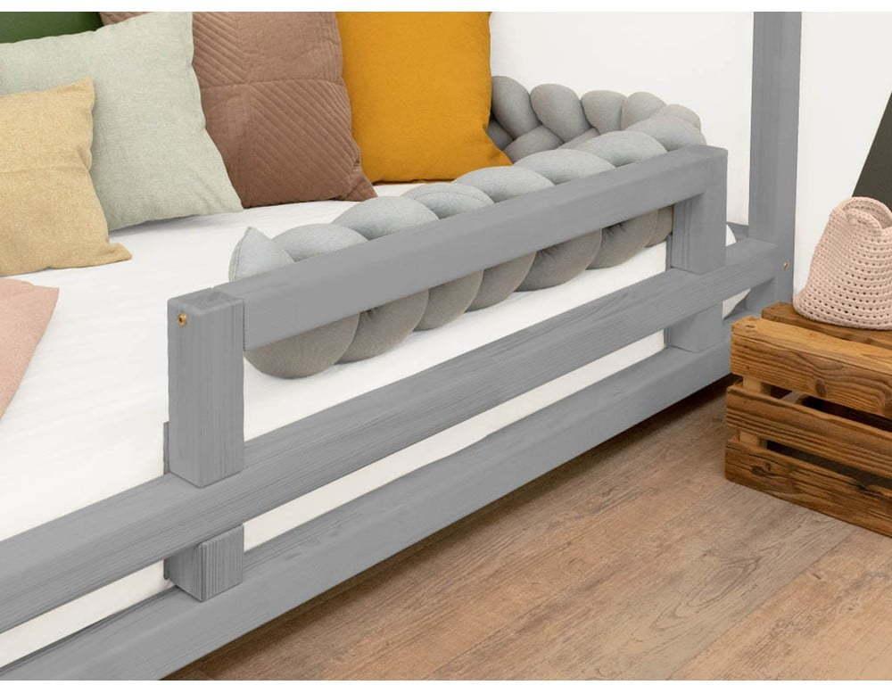 Sivá bočnica zo smrekového dreva k posteli Benlemi Safety, dĺžka 90 cm