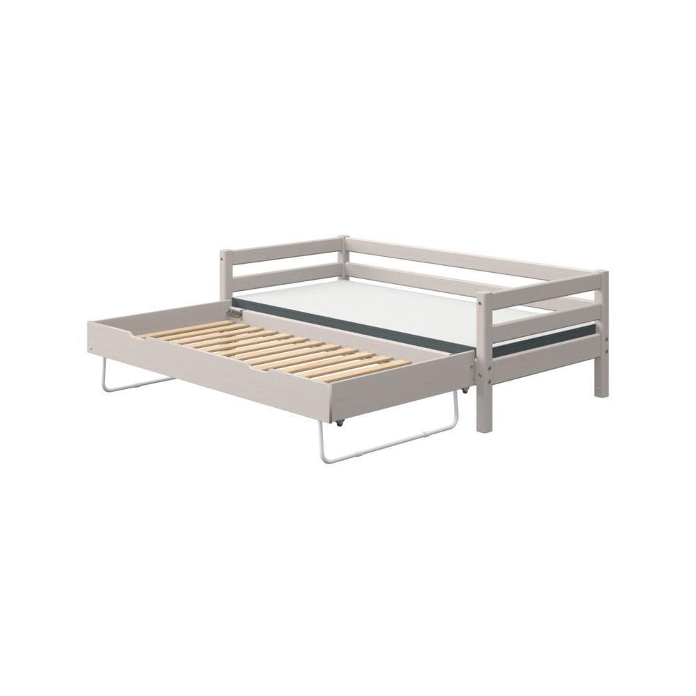 Sivá detská posteľ z borovicového dreva s prídavným výklopným lôžkom Flexa Classic
