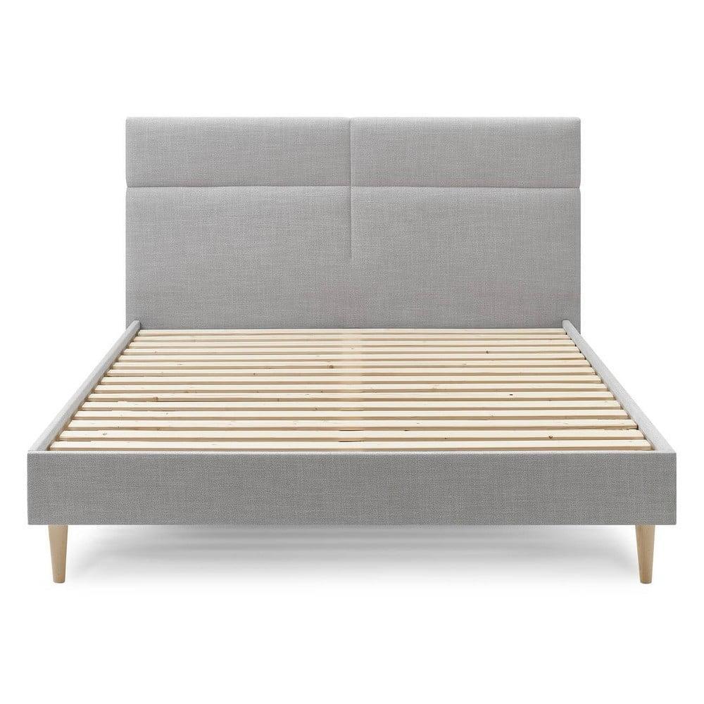 Sivá dvojlôžková posteľ Bobochic Paris Elyna Light, 160 x 200 cm