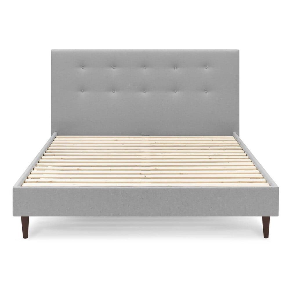 Sivá dvojlôžková posteľ Bobochic Paris Rory Dark, 160 x 200 cm
