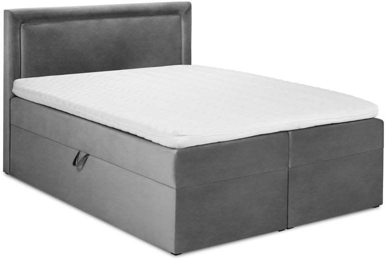 Sivá zamatová dvojlôžková posteľ Mazzini Beds Yucca, 200 x 200 cm