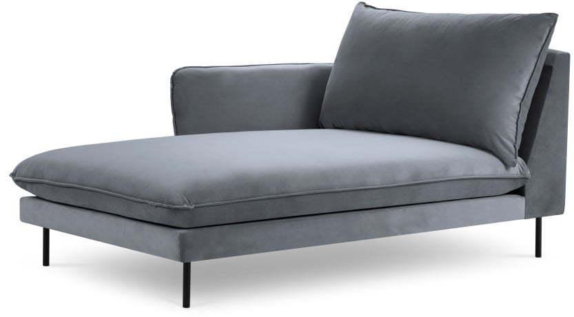 Sivá zamatová leňoška Cosmopolitan Design Vienna, ľavý roh