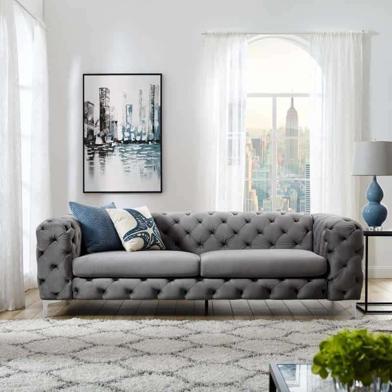 Sivá zamatová sedačka Modern Barock »