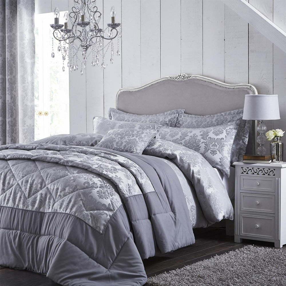 Sivé posteľné obliečky Catherine Lansfield Jacquard, 135 x 200 cm