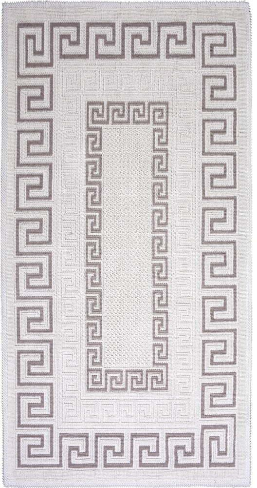 Sivo-béžový bavlnený koberec Vitaus Versace, 60 × 90 cm