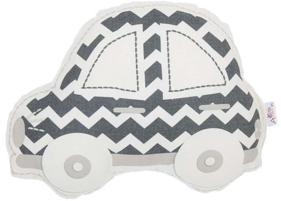 Sivo-biely detský vankúšik s prímesou bavlny Mike & Co. NEW YORK Pillow Toy Car, 32 x 25 cm