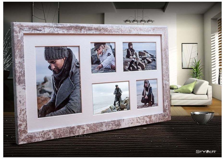 Sivo-biely rámček na 5 fotografií Styler Narvik, 51 × 27 cm