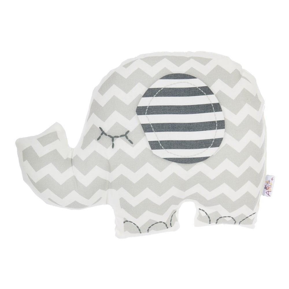 Sivý detský vankúšik s prímesou bavlny Mike & Co. NEW YORK Pillow Toy Elephant, 34 x 24 cm