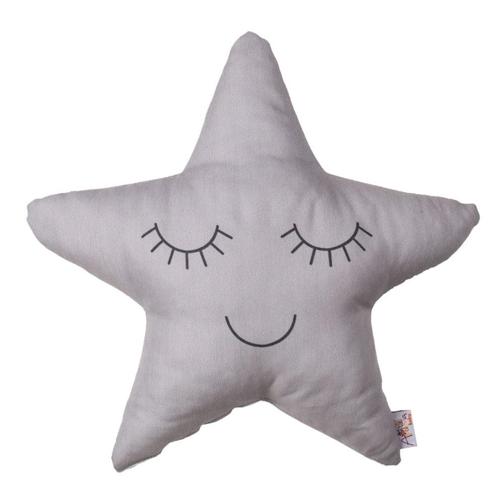 Sivý detský vankúšik s prímesou bavlny Mike & Co. NEW YORK Pillow Toy Star, 35 x 35 cm