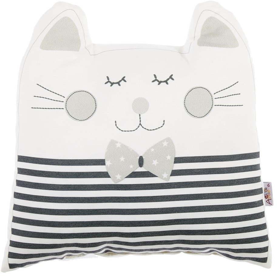 Sivý detský vankúšik s prímesou bavlny Mike & Co. NEW YORK Pillow Toy Big Cat, 29 x 29 cm