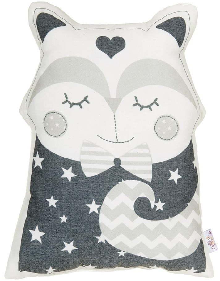 Sivý detský vankúšik s prímesou bavlny Mike & Co. NEW YORK Pillow Toy Smart Cat, 23 x 33 cm
