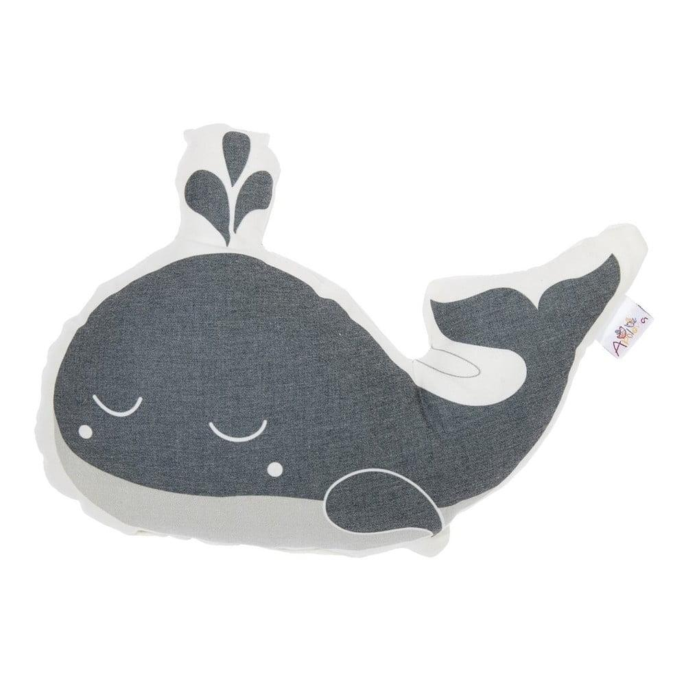 Sivý detský vankúšik s prímesou bavlny Mike & Co. NEW YORK Pillow Toy Whale, 35 x 24 cm