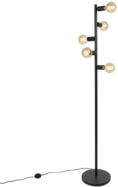Škandinávska stojaca lampa, čierna, 5 žiaroviek - Facil Tube