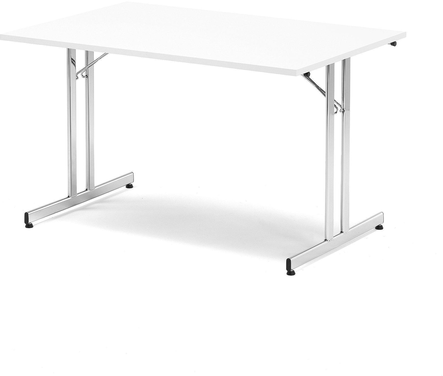 Skladací rokovací stôl Emily, 1800x800 mm, biela/chróm