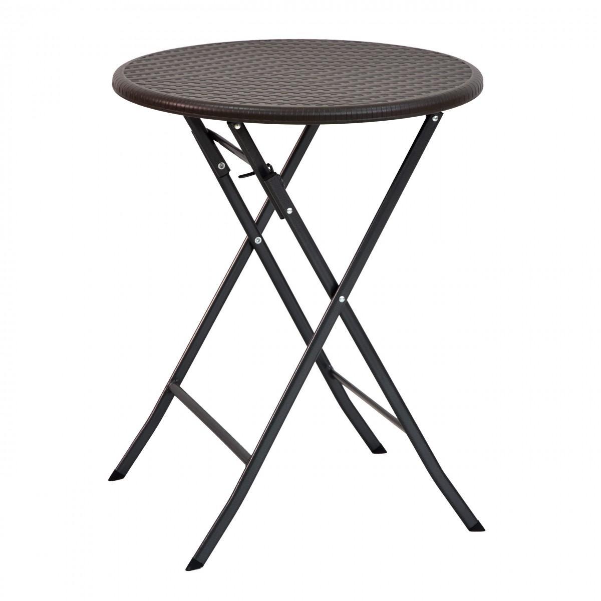 Skládací zahradní stolek rattan 60 cm hnědý