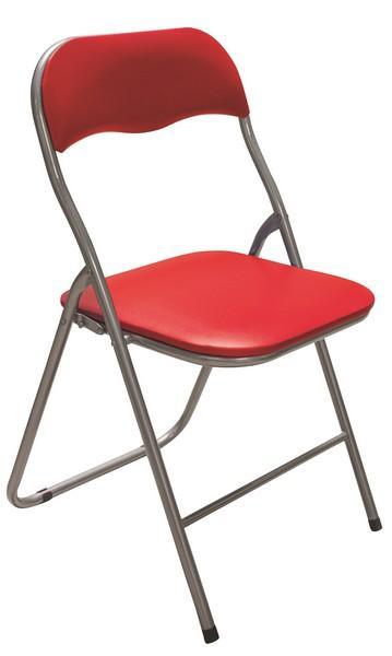 Skladacia stolička Foldus, červená ekokoža