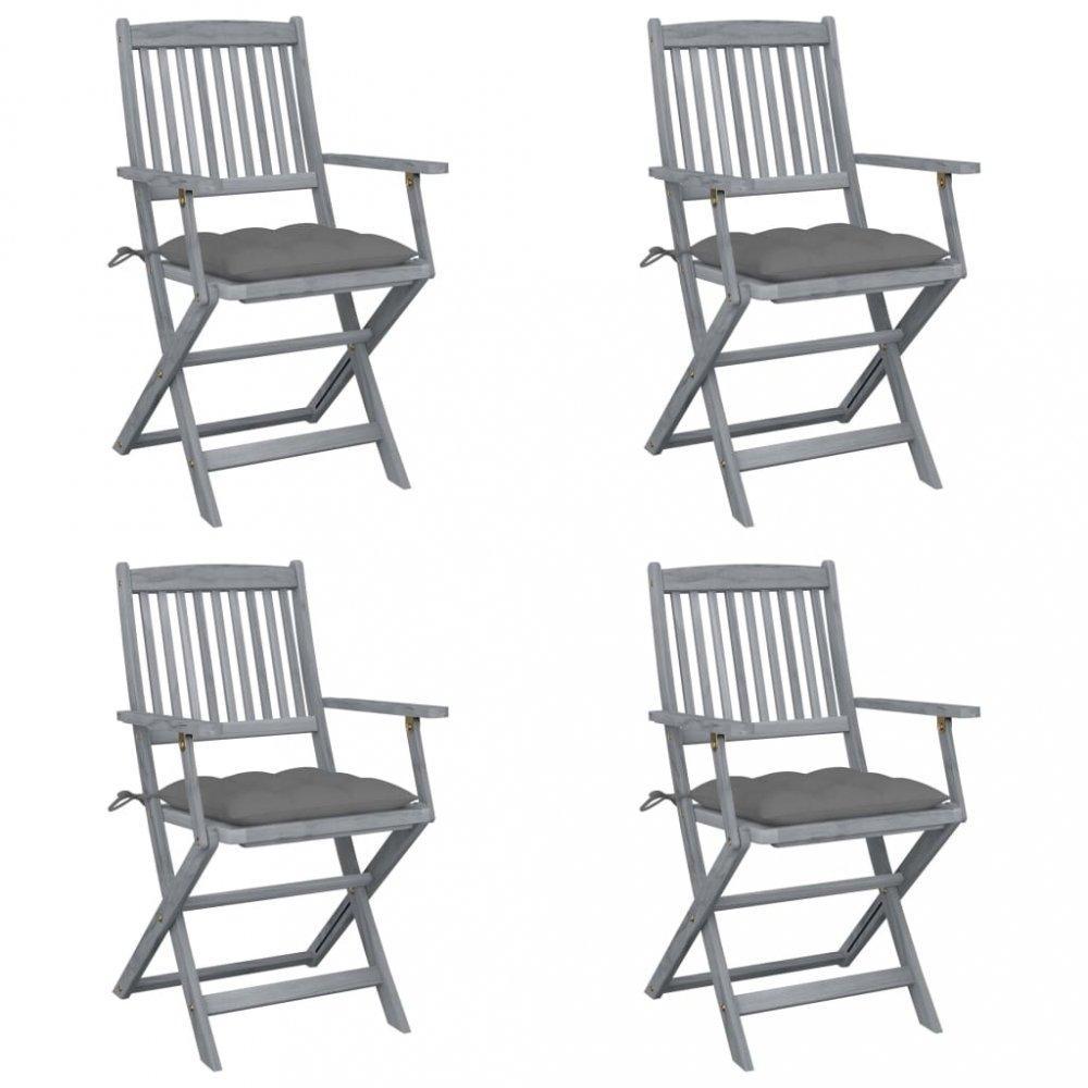 Skladacia záhradná stolička s poduškami 4 ks akácie Dekorhome Sivá