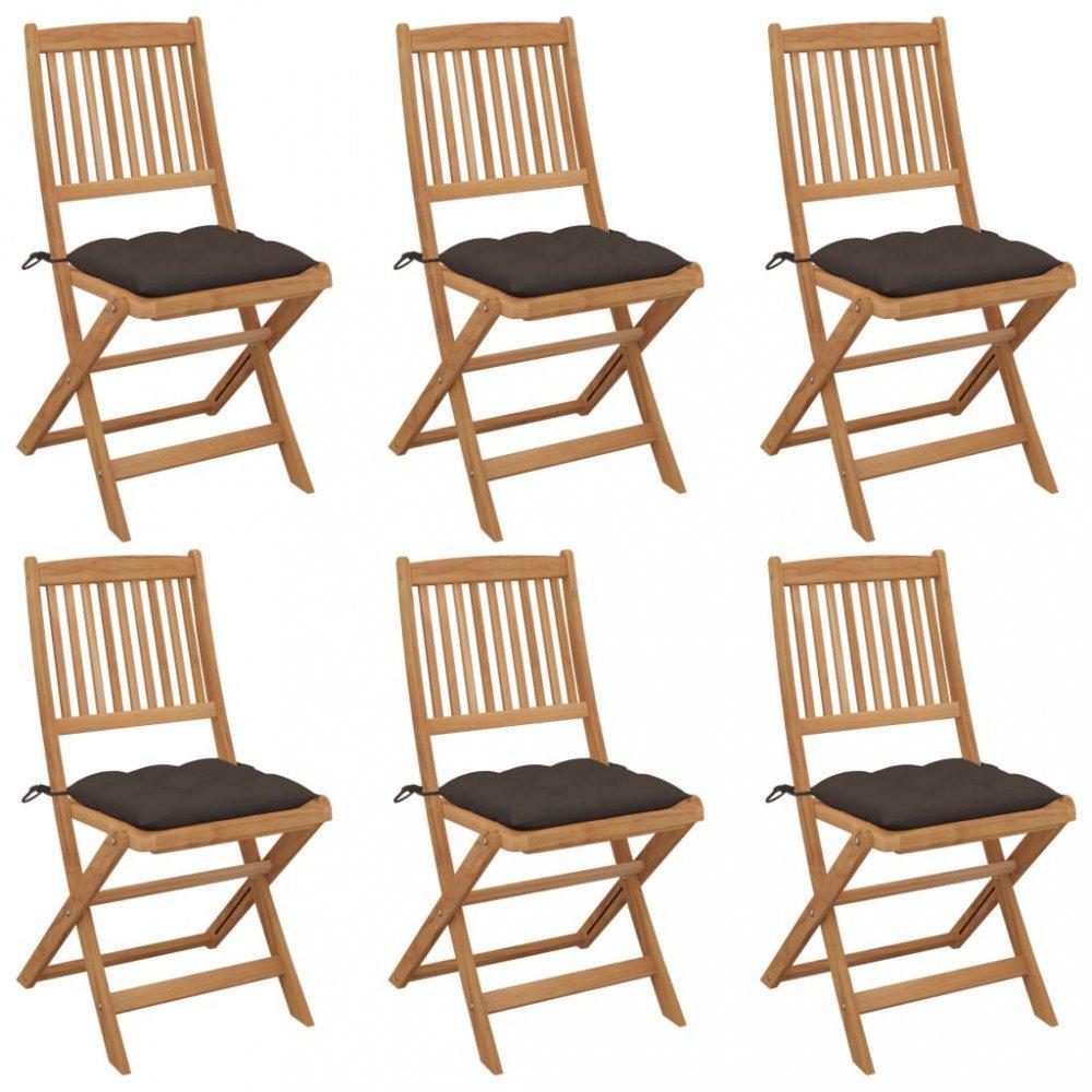 Skladacia záhradná stolička s poduškami 6 ks Dekorhome Sivohnedá taupe