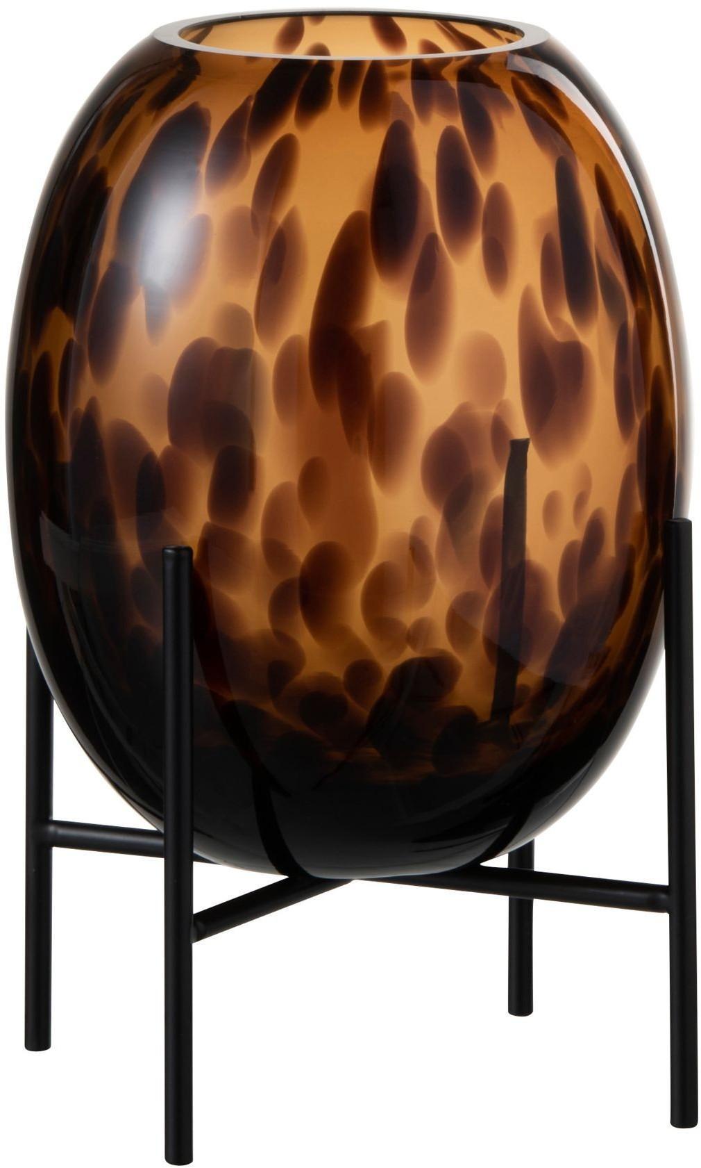 Sklenená hnedo - čierna dekoračné váza Speck na podstavci - Ø 23 * 12cm