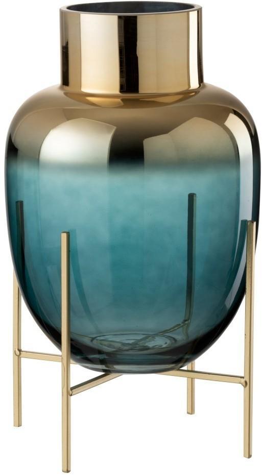 Sklenená tyrkysová dekoračné váza na podstavci - Ø 16 * 27cm